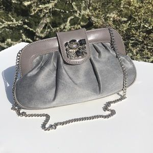 CarBotti Small Gray Jeweled Clutch